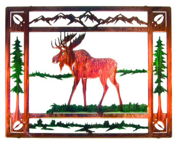 "20"" Moose in Meadow Framed Metal Wall Art - Color Wash"