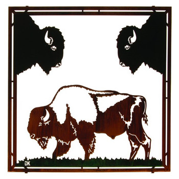 "22"" Buffalo Framed Metal Wall Art by Daniel Kirchner"
