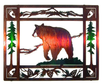 "20"" Bruin Bear Framed Metal Wall Art, Color Wash"