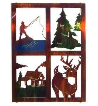 "20"" Lodge Window Pane with Fisherman, Deer, Trees, & Cabin Wall Art"