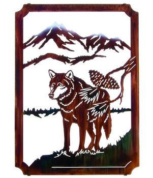 "22"" Lone Wolf Framed Metal Wall Art by Neil Rose"
