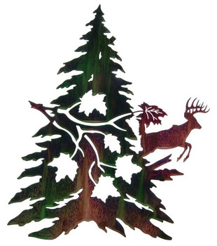 "24"" Whitetail Deer with Maple Metal Wall Art by Neil Rose"