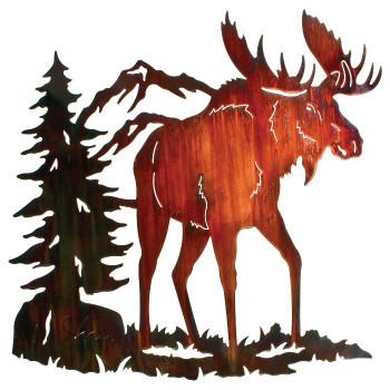 "26"" Moose Ridge Metal Wall Art by Neil Rose Color Wash Finish"