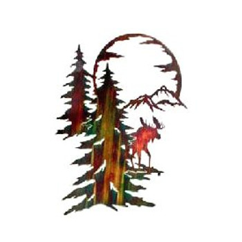 "26"" Moon River Moose Walking in the Forest Metal Wall Art"