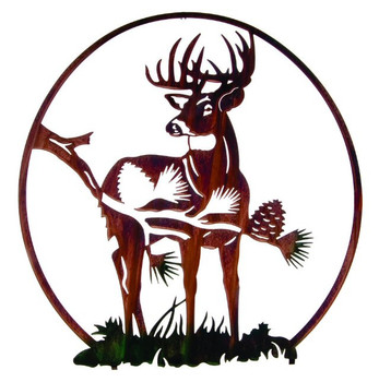 "28"" Whitetail Deer with Pine Vignette Metal Wall Art by Neil Rose"