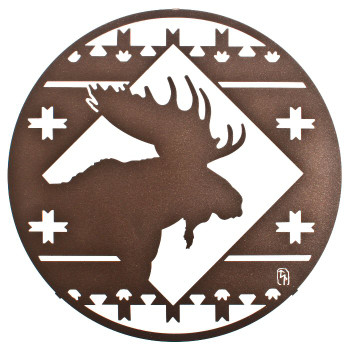 "16"" Moose Lodge Round Metal Wall Art by Bindrune Design"