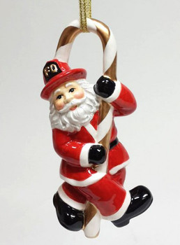 Fire Fighter Santa Christmas Tree Ornaments, Set of 4