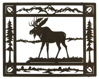 "20"" Moose in Meadow Framed Metal Wall Art"