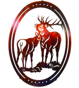 "16"" Oval Bugle Bull Elk Metal Wall Art by Kathryn Darling"