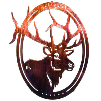 "16"" Oval Grand One Elk Metal Wall Art by Kathryn Darling"