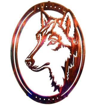 "16"" Oval Night Watch Wolf Metal Wall Art by Kathryn Darling"