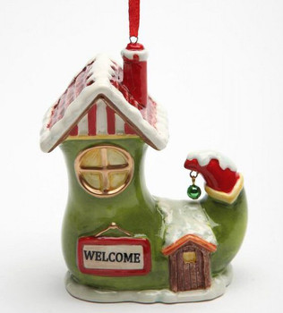 Santa's Village Shoe House Tree Ornaments by Laurie Furnell, Set of 4