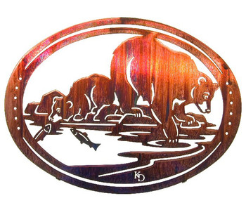 "18"" Oval ""Fish Tales"" Bears Metal Wall Art by Kathryn Darling"