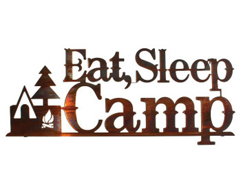 "24"" Eat Sleep Camp Metal Wall Art Honey Pinion Finish"