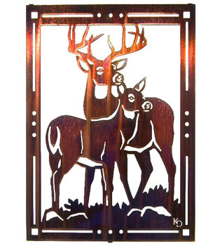 "20"" Golden Moments Deer Metal Wall Art by Kathryn Darling"