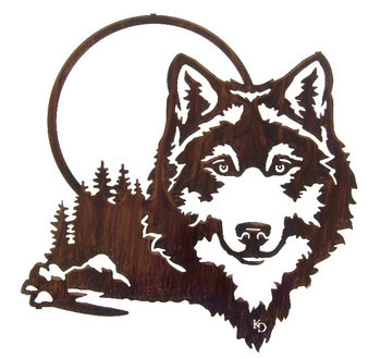 "20"" Moonlight Wolf Metal Wall Art by Kathryn Darling"