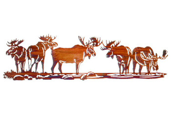 "30"" Moose Scene Metal Wall Art"