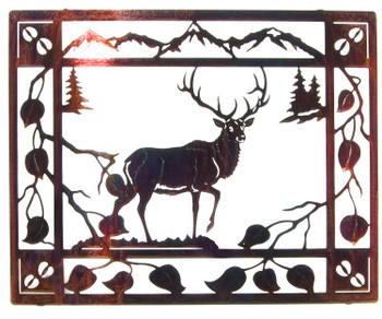 "20"" Aspen Retreat Elk Metal Wall Art"