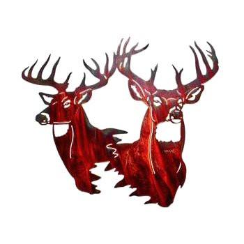 """26"""" Big $ Two Deer Head Metal Wall Art"""