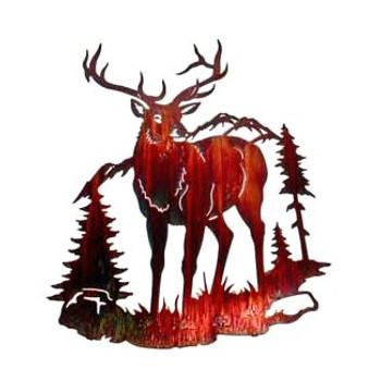 "26"" Elk Standing in the Mountains Metal Wall Art"