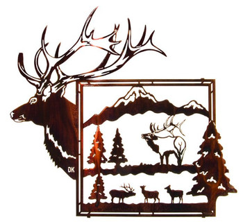 "24"" King of the Mountain Framed Elk Metal Wall Art"