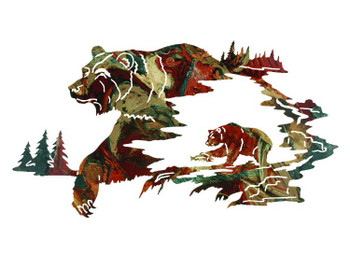 "30"" Reflections of the Wilderness Bear Metal Wall Art by Neil Rose"