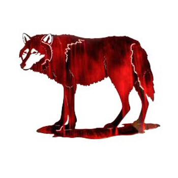 "24"" Elusive Standing Wolf Metal Wall Art"