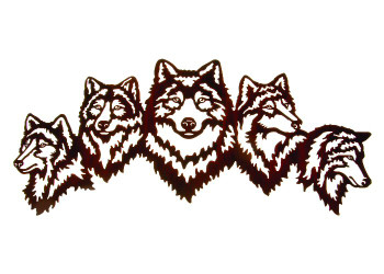 "35"" Nobility Wolves Metal Wall Art by Kathryn Darling"