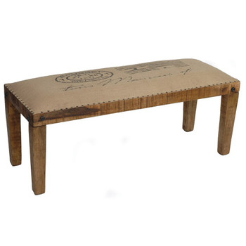 Bengal Manor Burlap and Mango Wood Bench