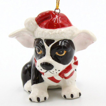 Christmas Boston Terrier Dog Christmas Tree Ornaments, Set of 4