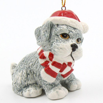 Christmas West Terrier Gray Dog Christmas Tree Ornaments, Set of 4