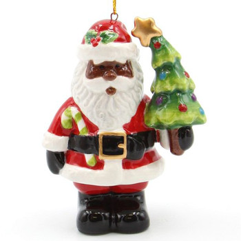 Black Santa with Christmas Tree & Candy Cane Ornaments, Set of 4