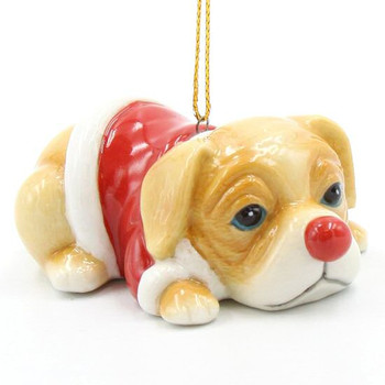 Christmas Puppy Wearing a Red Coat Christmas Tree Ornaments, Set of 4