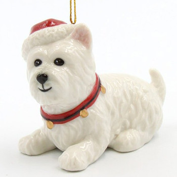 Christmas West Terrier Dog Christmas Tree Ornaments, Set of 4
