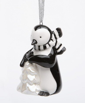 Penguin with White Christmas Tree Christmas Tree Ornaments, Set of 4