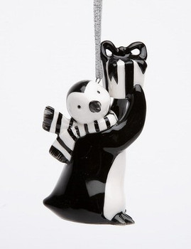 Penguin with Christmas Gift Christmas Tree Ornaments, Set of 4