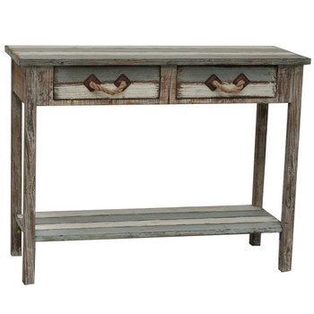 Nantucket 2 Drawer Weathered Wood Console Table