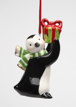 Colorful Penguin w/ Christmas Gift Christmas Tree Ornaments, Set of 4