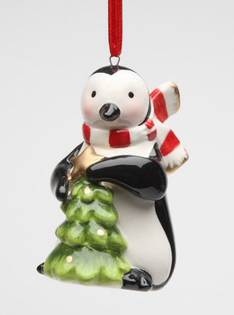 Penguin with Green Christmas Tree Christmas Tree Ornaments, Set of 4
