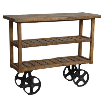Bengal Manor Industrial Mango Wood Tea Cart