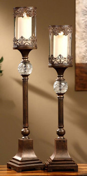 Regency Bronze Pillar Candle Holders, Set of 2