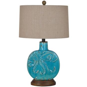 Deep Ocean Ceramic and Resin Table Lamp with Burlap Shade