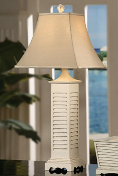 Seaside Resin Table Lamp with Square Linen Shade