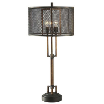Winchester Metal Table Lamp with Wire Mesh Shade