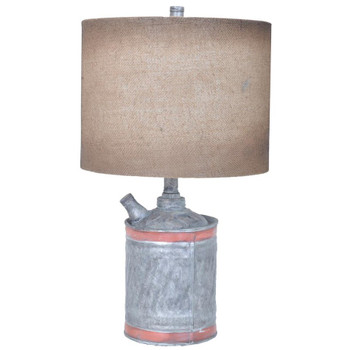 Filler Up Resin Table Lamp with Burlap Shade