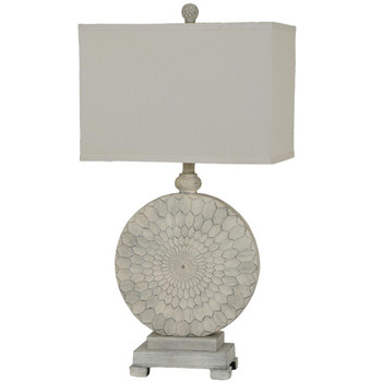 Sun Dance Resin Table Lamp with Cream Linen Shade