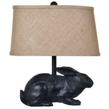 Rabbit Resin Table Lamp with Burlap Shade