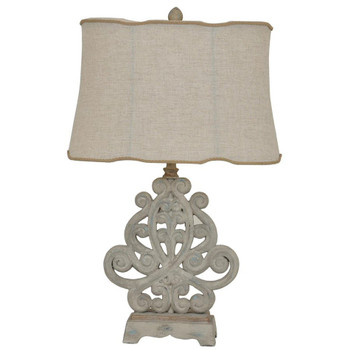 Sarah Resin Table Lamp with Natural Linen Shade