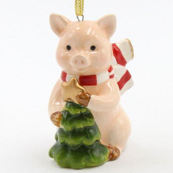 Christmas Pig with Tree Christmas Tree Ornaments, Set of 4