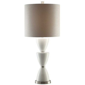Morison Ceramic and Metal Table Lamp with Grey Linen Shade